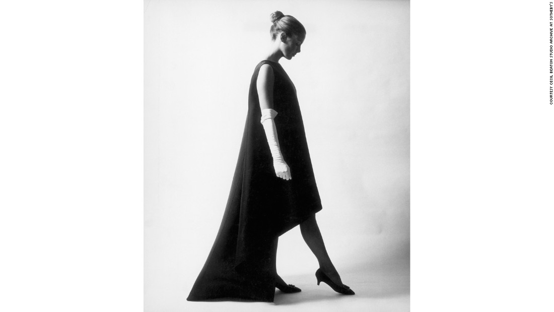 A model wears a silk Balenciaga evening dress in 1967.