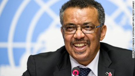 New World Health Organization (WHO) Director General Ethiopia's Tedros Adhanom Ghebreyesus holds a press conference on the day after his election by the World Health Assembly (WHA) on May 24, 2017 in Geneva.