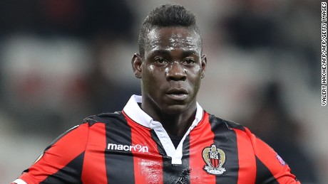 Nice's Italian forward Mario Balotelli reacts during the Europa League match between OGC Nice vs FC Krasnodar on December 8, 2016 at the Allianz Riviera Stadium in Nice, southeastern France.
