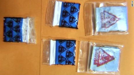 "The baggies found at the scene were stamped with ""Superman"" and ""Danger/Skull & Crossbones"" logos, investigators said."