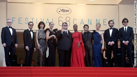 One of the many quirks of the Cannes red carpet is that Thierry Fremaux, general delegate of the festival (far left) will greet each cast and crew at the top of the Palais steps.