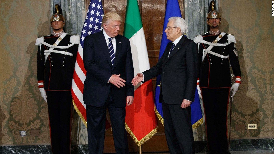 Trump shakes hands with Italian President Sergio Mattarella in Rome on May 24.