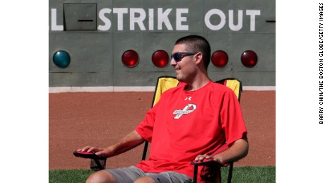 BOSTON - AUGUST 14: Photos of Pete Frates, former Boston College baseball captain who has ALS and is behind the ice bucket challenge that has gone viral. (Photo by Barry Chin/The Boston Globe via Getty Images)