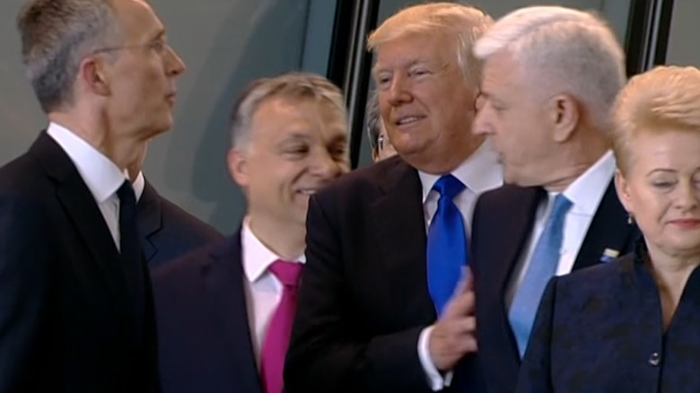 Awkward moment when Trump pushes a prime minister at NATO conference