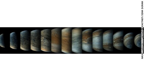 This sequence of enhanced-color images shows how quickly the viewing geometry changes for NASA's Juno spacecraft as it swoops by Jupiter. T