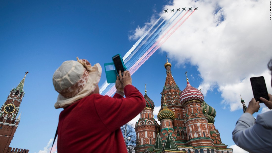 <strong>Moscow: </strong>Russian jets fly over Red Square during a rehearsal for the Victory Day military parade which took place on May 9. The holiday marks the victory of the Soviet Union over Nazi Germany during World War II. <br />