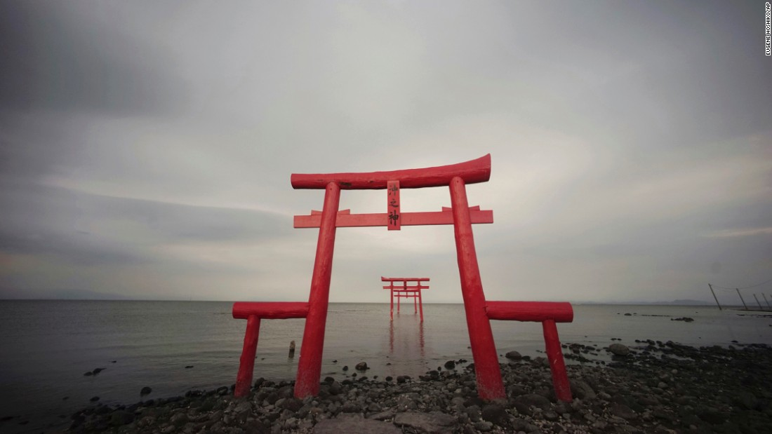 <strong>Tara, Japan: </strong>Traditional Japanese Torii gates stand on the shore and out into the Ariake Sea in Tara, Saga Prefecture.