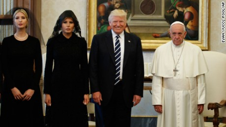 Ivanka Trump, first lady Melania Trump, and President Donald Trump stand with Pope Francis during a meeting, Wednesday, May 24, 2017, at the Vatican. (AP Photo/Evan Vucci)