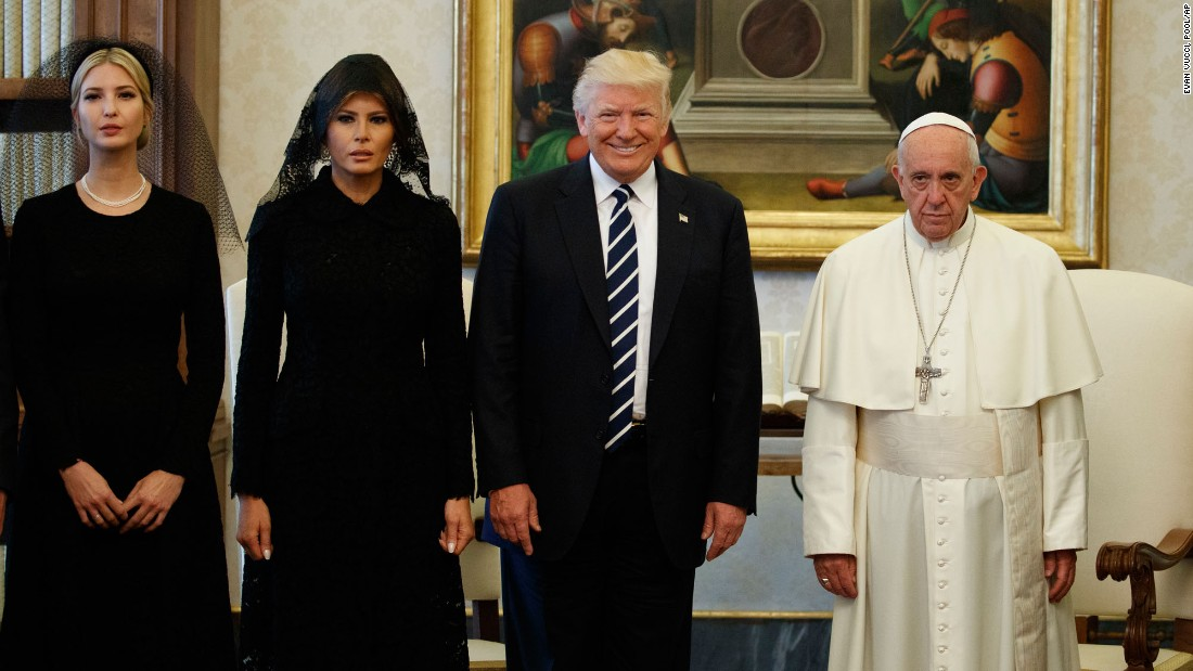 "Pope Francis stands with US President Donald Trump and his family during a private audience at the Vatican on Wednesday, May 24. Joining the President are his wife, Melania, and his daughter Ivanka. <a href=""http://www.cnn.com/interactive/2017/05/politics/trump-foreign-trip-cnnphotos/"" target=""_blank"">On tour with Trump: A behind-the-scenes view</a>"