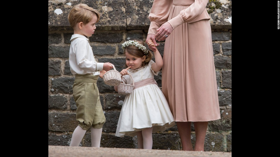 "Britain's Prince George, left, and his little sister, Princess Charlotte, attend <a href=""http://www.cnn.com/2017/05/20/world/pippa-middleton-wedding-day/"" target=""_blank"">the wedding</a> of their aunt, Pippa Middleton, on Saturday, May 20. George was a page boy in the wedding. Charlotte was a flower girl."