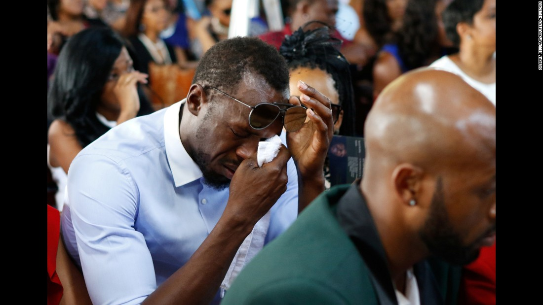 Olympic champion Usain Bolt, the world's fastest man, cries during a funeral service for high-jumper Germaine Mason on Sunday, May 21. Mason, an Olympic silver medalist, was killed in a motorbike crash last month on the outskirts of Kingston, Jamaica.