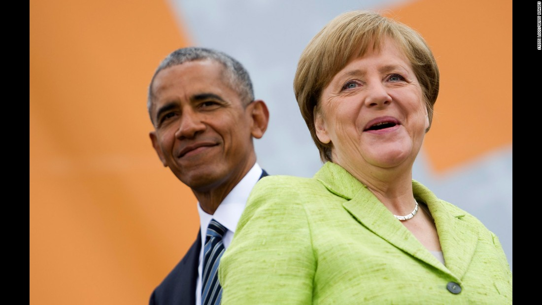"Former US President Barack Obama and German Chancellor Angela Merkel arrive for a discussion on democracy Thursday, May 25, at the biennial congress of the German Protestant Church. <a href=""http://www.cnn.com/2017/05/25/politics/obama-merkel-germany/"" target=""_blank"">Both mounted a staunch defense</a> of their brand of liberal global democratic politics amid a surge of populist feeling around the world."