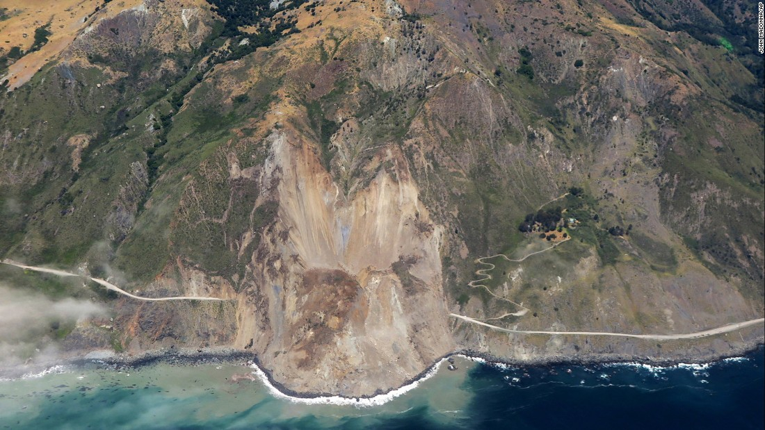 "This aerial photo, taken Monday, May 22, shows a massive landslide <a href=""http://www.cnn.com/2017/05/24/us/california-landslide-scenic-highway/"" target=""_blank"">that buried a section of California's Pacific Coast Highway.</a> No one was hurt, officials said, as that part of the highway was already closed because of heavy rains."