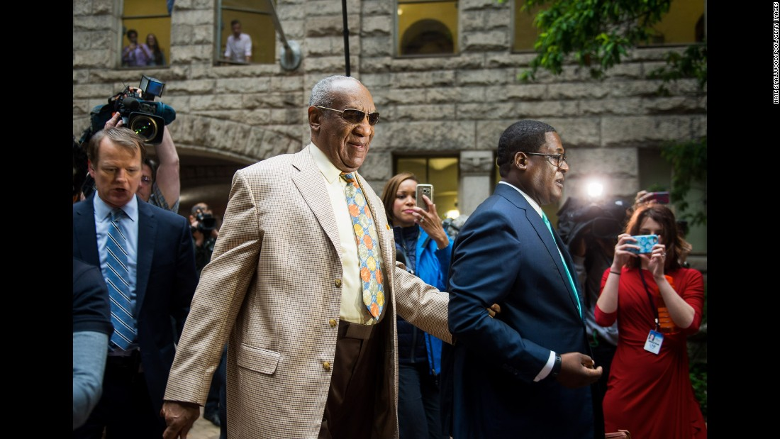 "Comedian Bill Cosby arrives at a Pittsburgh courthouse for the first day of <a href=""http://www.cnn.com/2017/05/24/us/bill-cosby-jury-selected/"" target=""_blank"">jury selection</a> on Monday, May 22. Cosby is charged with three counts of felony aggravated indecent assault from a 2004 case involving Andrea Constand, an employee at his alma mater, Temple University. He has pleaded not guilty to all charges."