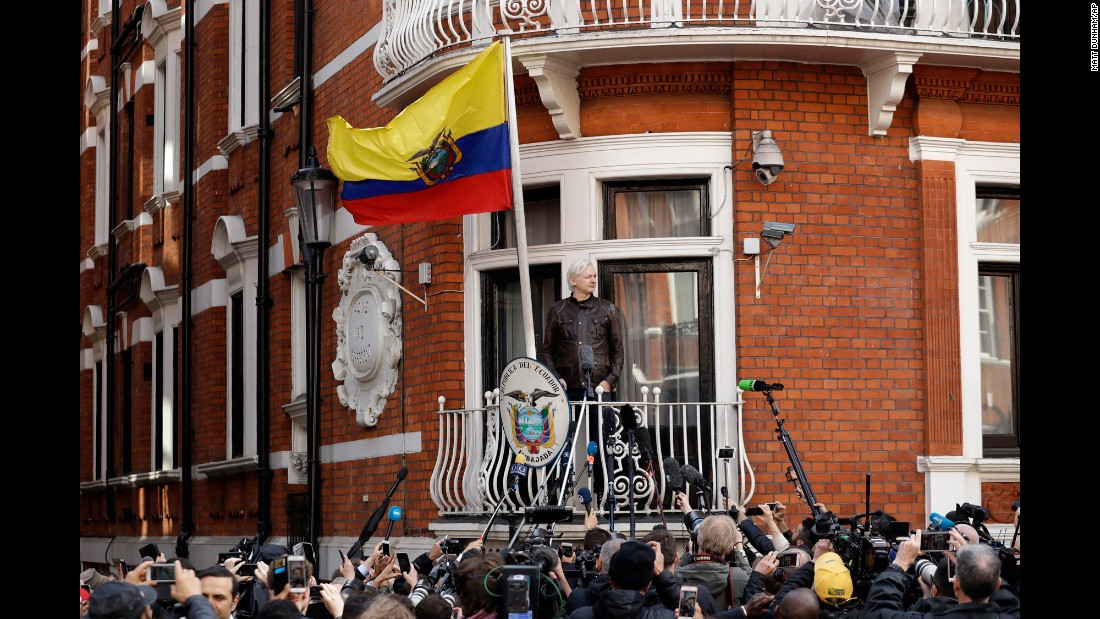 "WikiLeaks founder Julian Assange stands on the balcony of the Ecuadorian Embassy prior to speaking in London on Friday, May 19. Assange has been holed up at the embassy since 2012, in an effort to avoid a Swedish arrest warrant. <a href=""http://www.cnn.com/2017/05/19/europe/julian-assange-sweden-charges-dropped/"" target=""_blank"">Sweden is dropping its rape investigation of Assange,</a> according to a prosecution statement. But Assange is still the subject of a UK arrest warrant."