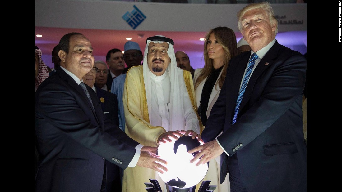 "From right, US President Donald Trump, first lady Melania Trump, Saudi King Salman bin Abdulaziz Al Saud and Egyptian President Abdel Fattah el-Sisi attend an inauguration ceremony Sunday, May 21, for the Global Center for Combating Extremist Ideology. The facility is in Riyadh, Saudi Arabia. <a href=""http://www.cnn.com/2017/05/20/politics/gallery/trump-first-foreign-trip/index.html"" target=""_blank"">See more photos from the President's first foreign tour</a>"