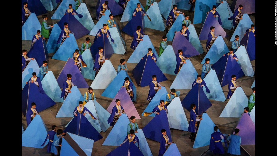 Dancers perform Monday, May 22, during the closing ceremony of the Islamic Solidarity Games in Baku, Azerbaijan.