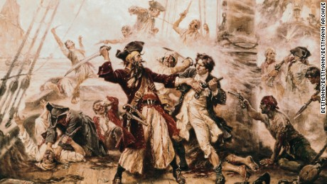 The Capture of the Pirate, Blackbeard, 1718 by Jean Leon Gerome Ferris. Depicting the fierce duel between Teach and Lieutenant Robert Maynard of the British Royal Navy.