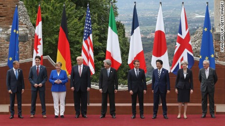 Leaders of the G7 group of nations, which includes the Unted States, Canada, Japan, the United Kingdom, Germany, France and Italy, as well as the European Union, are meeting at Taormina from May 26-27. (Photo by Sean Gallup/Getty Images)