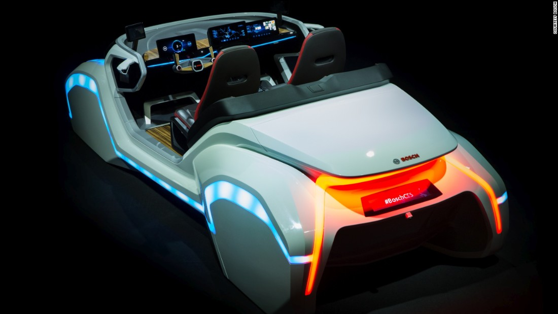 The Bosch concept features a hologram-like dashboard display with a haptic quality, giving them a physical feel, and has a gesture control system so you can use hand signals to control certain functions. Your smartphone, meanwhile, acts as the unlock button, so you never have to carry a key.