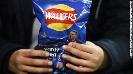 LEICESTER, ENGLAND - DECEMBER 14:  Limited edition packets of Walkers crisps bearing the likeness of Jamie Vardy of Leicester City are seen prior to the Barclays Premier League match between Leicester City and Chelsea at the King Power Stadium on December14, 2015 in Leicester, United Kingdom. The packets of Walkers Crisps have been released in honour of Vardy's record breaking 11 game goal scoring run in the Barclays Premier League.  (Photo by Michael Regan/Getty Images)