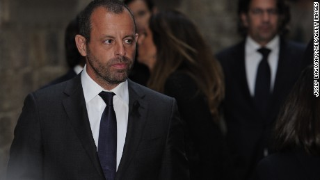 Former president of FC Barcelona Sandro Rosell walks during a religious ceremony at Barcelona Cathedral on April 28, 2014. Former Barcelona coach Tito Vilanova died on April 25 at the age of 45 after a prolonged battle against cancer of the salivary gland before being forced to step down as Barcelona boss last July due to ongoing health problems.  AFP PHOTO / JOSEP LAGO        (Photo credit should read JOSEP LAGO/AFP/Getty Images)
