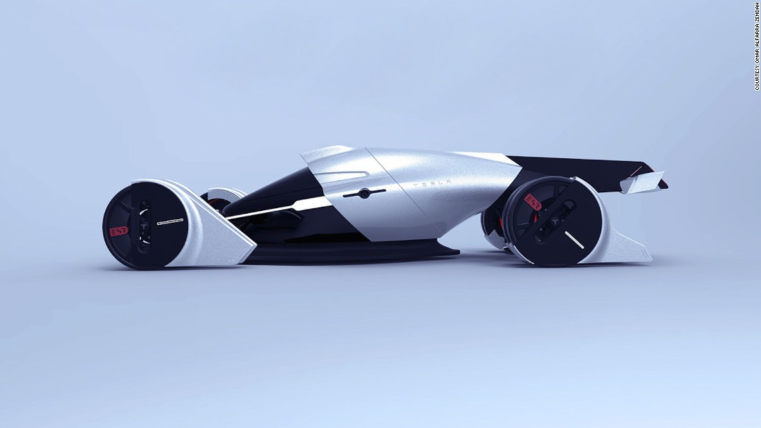 Six students from the IED Barcelona design school were tasked with creating a futuristic race car for the 2030 Le Mans. The result, known as the unofficial Tesla T1, proposes the use of four wind turbines at each wheel to propel the car.