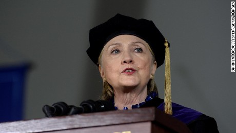 WELLESLEY, MA - MAY 26: Hillary Clinton speaks at commencement at Wellesley College May 26, 2017 in Wellesley, Massachusetts.