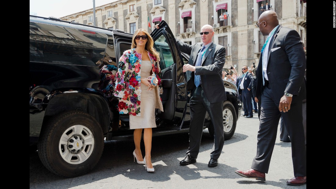 "Melania Trump arrives at the City Hall in Catania, Italy, on May 26. She was wearing <a href=""http://www.cnn.com/2017/05/26/politics/melania-trump-dolce-gabbana-jacket-sicily/index.html"" target=""_blank"">a $51,500 Dolce & Gabbana jacket </a>as she met with other spouses of G-7 leaders."