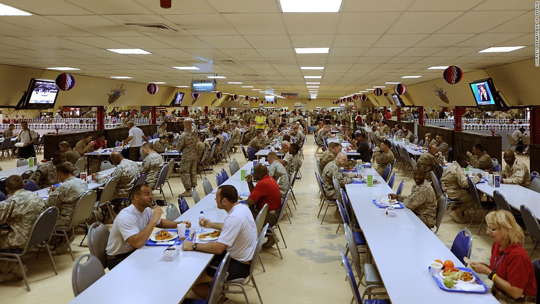 "Around the world, US military and civilians can join together in massive mess halls, like this one in Afghanistan, filled with healthy hot and cold meal options. <br />""Military dining facilities are required to provide a large variety of foods,"" says certified nutrition specialist <a href=""https://www.usuhs.edu/faculty-staff/patricia-deuster-phd-mph"" target=""_blank"">Patricia Deuster</a>, professor at the Uniformed Services University and author of the first US Navy SEAL Nutrition guide. ""You could pick from items such as beef and broccoli stir fry with rice, salads, burgers and fries or a pizza."""