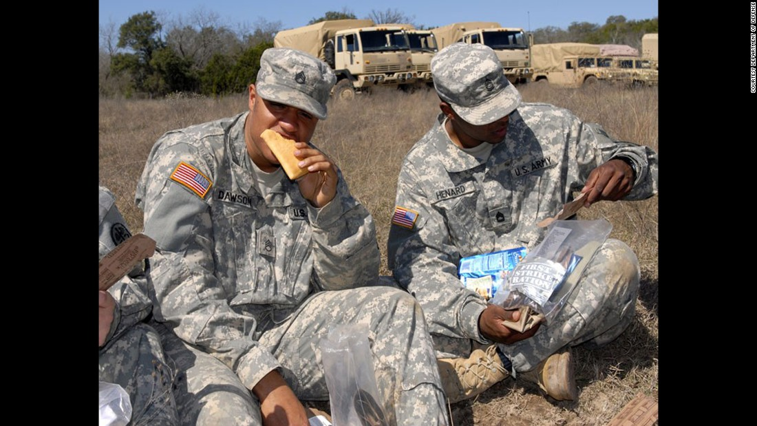 "These troops are chowing down on a ""first-strike"" shelf-stable pocket sandwich, which the Department of Defense says has always scored high in field tests. It's called first strike because it's designed to be used during initial periods of highly intense, highly mobile combat operations.<br />""Between MREs, first-strike options and modular rations, they've got such a variety of options,"" Deuster said. ""Sports bars, raisins, applesauce -- there are all sorts of things you can eat on the go."""