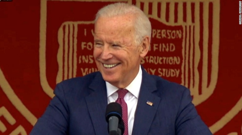Former Vice President Joe Biden speaks at Cornell University's graduation ceremony on May 27.