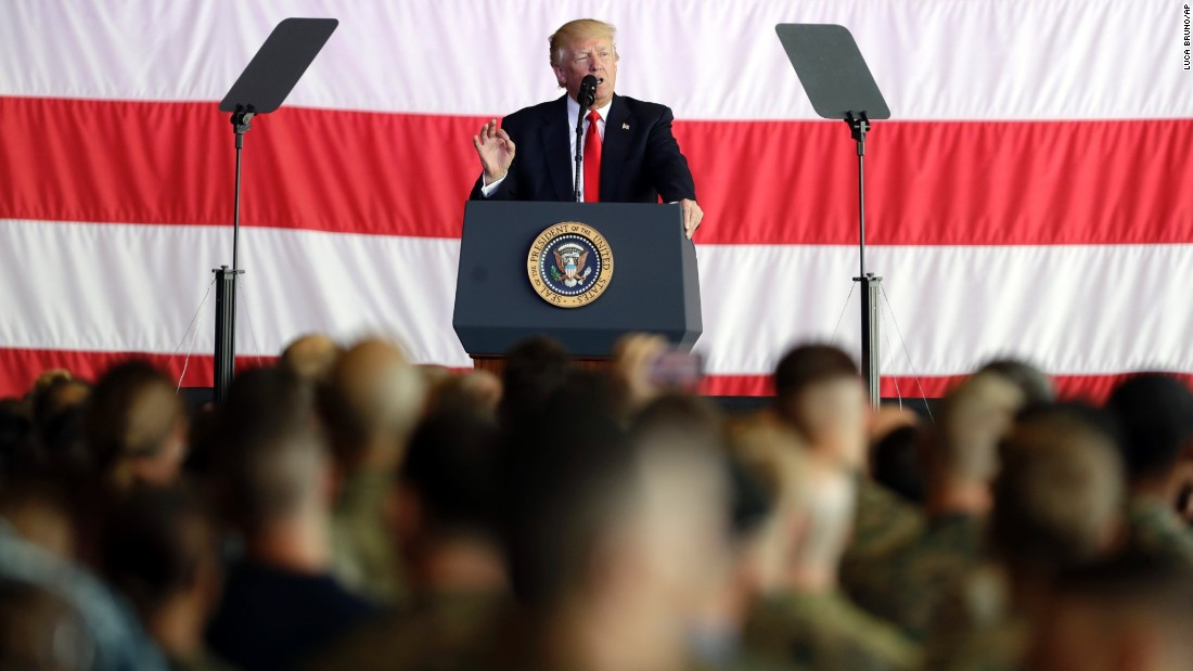 President Trump addresses US troops and their families on May 27, at the Sigonella Naval Air Station.