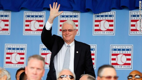 COOPERSTOWN, NY - JULY 27: Hall of Famer Jim Bunning is introduced during the Baseball Hall of Fame induction ceremony at Clark Sports Center on July 27, 2014 in Cooperstown, New York.