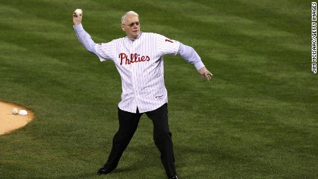 PHILADELPHIA - OCTOBER 27: Former Philadelphia Phillies pitcher and U.S. Senator Jim Bunning (R-KY) throws out the ceremonial first pitch prior to game five of the 2008 MLB World Series between the Philadelphia Phillies and the Tampa Bay Rays on October 27, 2008 at Citizens Bank Park in Philadelphia, Pennsylvania.