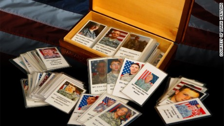 Retired Lt. Gen. Mark Hertling's box of cards with pictures of fallen soldiers.