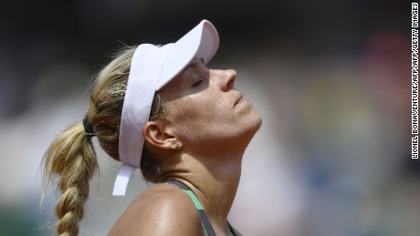 Angelique Kerber reacts during her match against Ekaterina Makarova at Roland Garros.