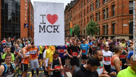 MANCHESTER, ENGLAND - MAY 28:  Runners gather at the start of the Simplyhealth Great Manchester Run on May 28, 2017 in Manchester, England. Security in the city remains high since the Manchester Arena suicide bombing which killed 22 people on the evening of May 22 as concert goers were leaving the venue after an Ariana Grande performance.  (Photo by Anthony Devlin/Getty Images)