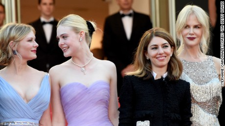 "CANNES, FRANCE - MAY 24:  (L-R) Actors Colin Farrell, Kirsten Dunst and Elle Fanning, director Sofia Coppola and actor Nicole Kidman attend ""The Beguiled"" premiere during the 70th annual Cannes Film Festival at Palais des Festivals on May 24, 2017 in Cannes, France."