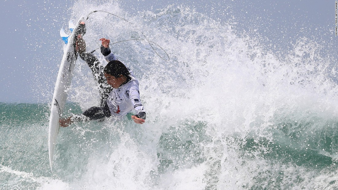 Yuri Ogasawara competes at the World Surfing Games in Biarritz, France, on Saturday, May 27.