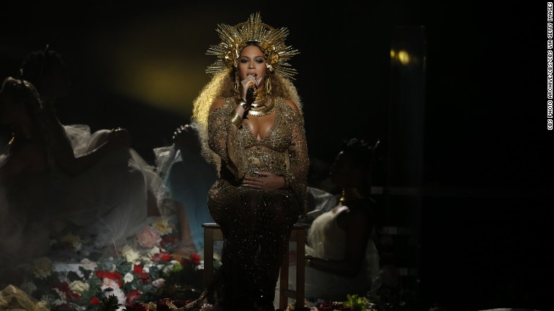 Beyonce performs during The 59th Annual Grammy Awards