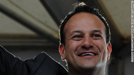Leo Varadkar in 2015, celebrating the victory of a Yes vote after the marriage equality referendum was won.
