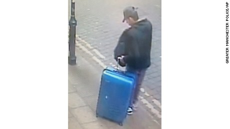 Handout CCTV photo taken on Monday, May 22 of attacker Salman Abedi in an unknown part of Manchester.