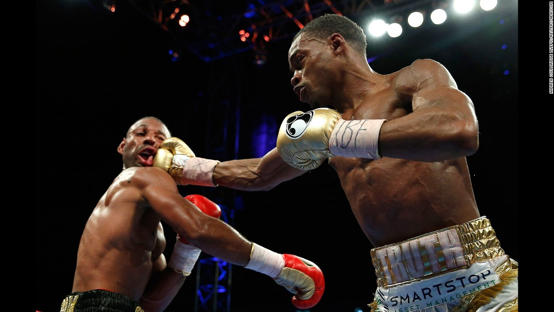 Errol Spence Jr. punches Kell Brook during their welterweight title fight in Sheffield, England, on Saturday, May 27. Spence won after the fight was stopped in the 11th round.