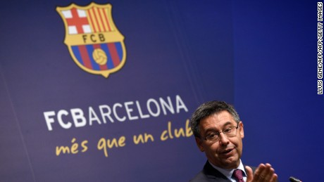 Barcelona's football club president Josep Maria Bartomeu speaks during a press conference on May 29, 2017 at Camp Nou stadium in Barcelona to announce that Spanish coach Ernesto Valverde Ernesto Valverde will be the new coach of team. / AFP PHOTO / LLUIS GENE        (Photo credit should read LLUIS GENE/AFP/Getty Images)