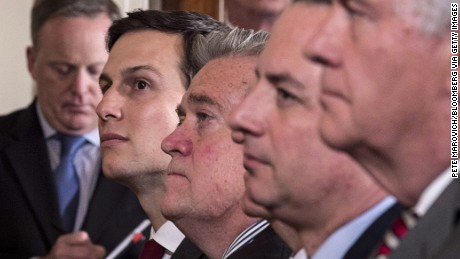 Jared Kushner, senior White House adviser, left, and Steve Bannon, chief strategist for U.S. President Donald Trump, second left, listen during a joint press conference with Trump and Paolo Gentiloni, Italy's prime minister, not pictured, in the East Room of the White House in Washington, D.C., U.S., on Thursday, April 20, 2017. Gentiloni said they spoke about military expenses and the contributions each country must make toward collective security. Photographer: Pete Marovich/Bloomberg via Getty Images
