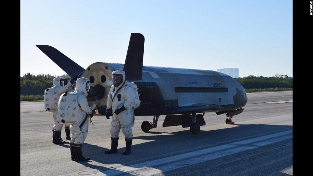 "The Air Force's unmanned space aircraft, the X-37B, sits on a runway after landing at NASA's Kennedy Space Center in Florida on Sunday, May 7. The plane <a href=""http://www.cnn.com/2017/05/07/us/air-force-x-37b-landing-trnd/"" target=""_blank"">spent nearly two years in space.</a>"