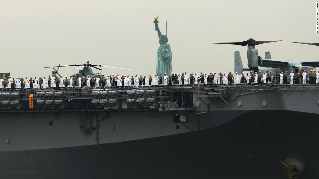 The USS Kearsarge joins a parade of ships during Fleet Week celebrations in New York on Wednesday, May 24.