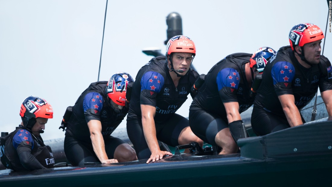 Emirates Team New Zealand work their pedal powered race yacht.