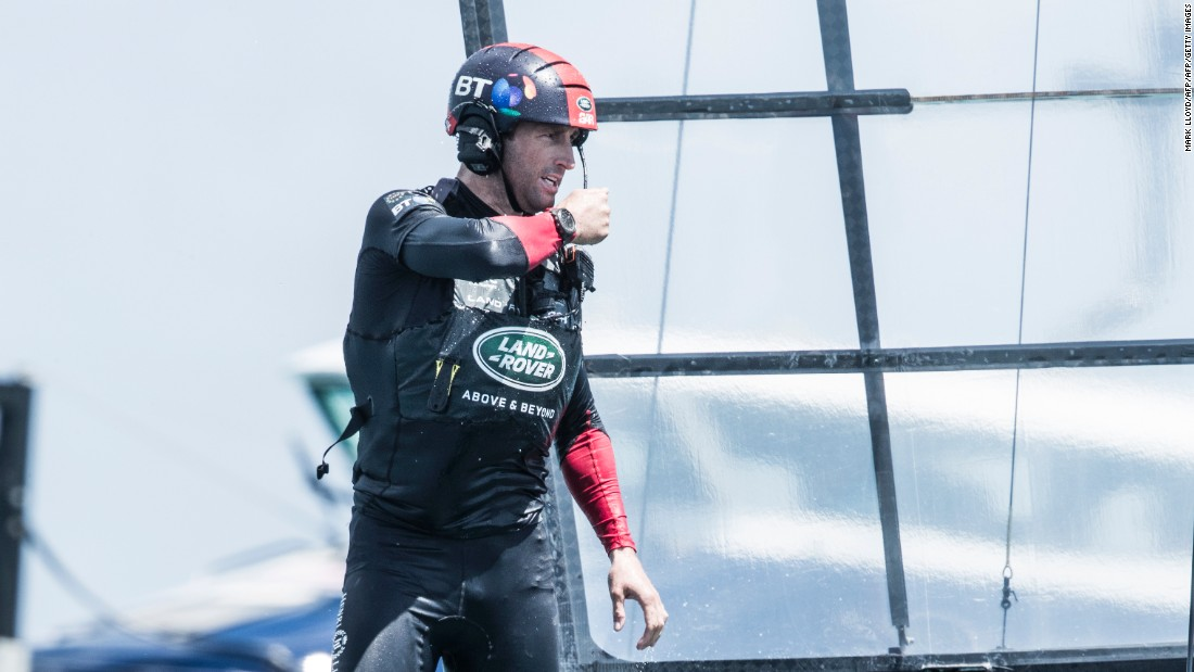 Land Rover BAR skipper Ben Ainslie gives instructions on board his team's vessel.